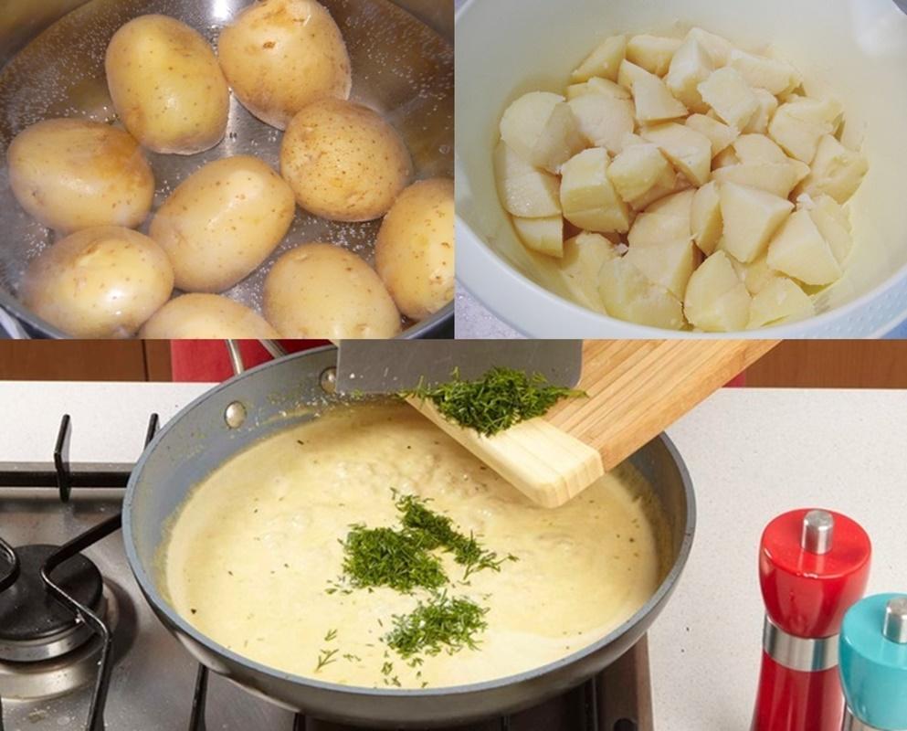 Colaj de poze cu pașii de preparare ai rețetei de Salată de cartofi cu sos de muștar și smântână