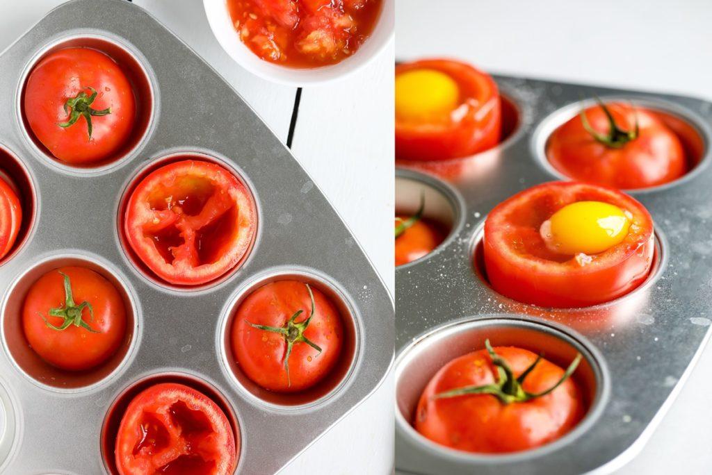 Colaj de poze cu modul de preparare pentru ouă ochiuri în roșii
