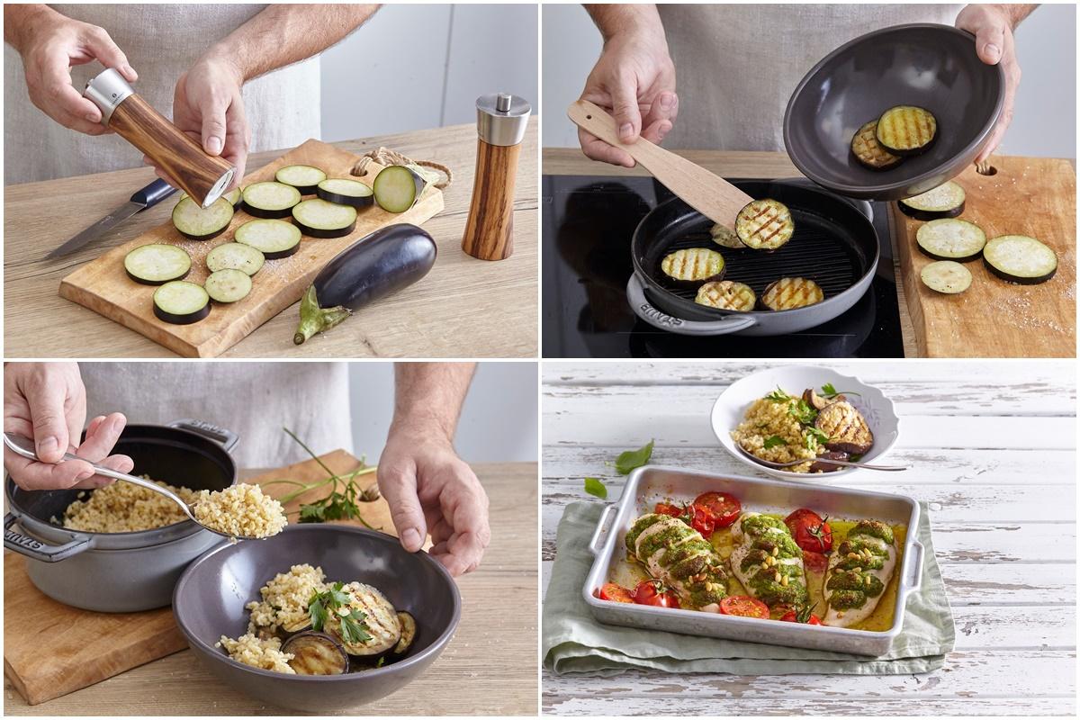 Colaj de poze cu pașii de preparare garnitură de orez cu vinete la grill, pentru Piept de pui gratinat cu pesto de busuioc, la cuptor