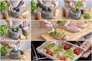 Colaj de poze cu pașii de preparare Piept de pui gratinat cu pesto de busuioc, la cuptor