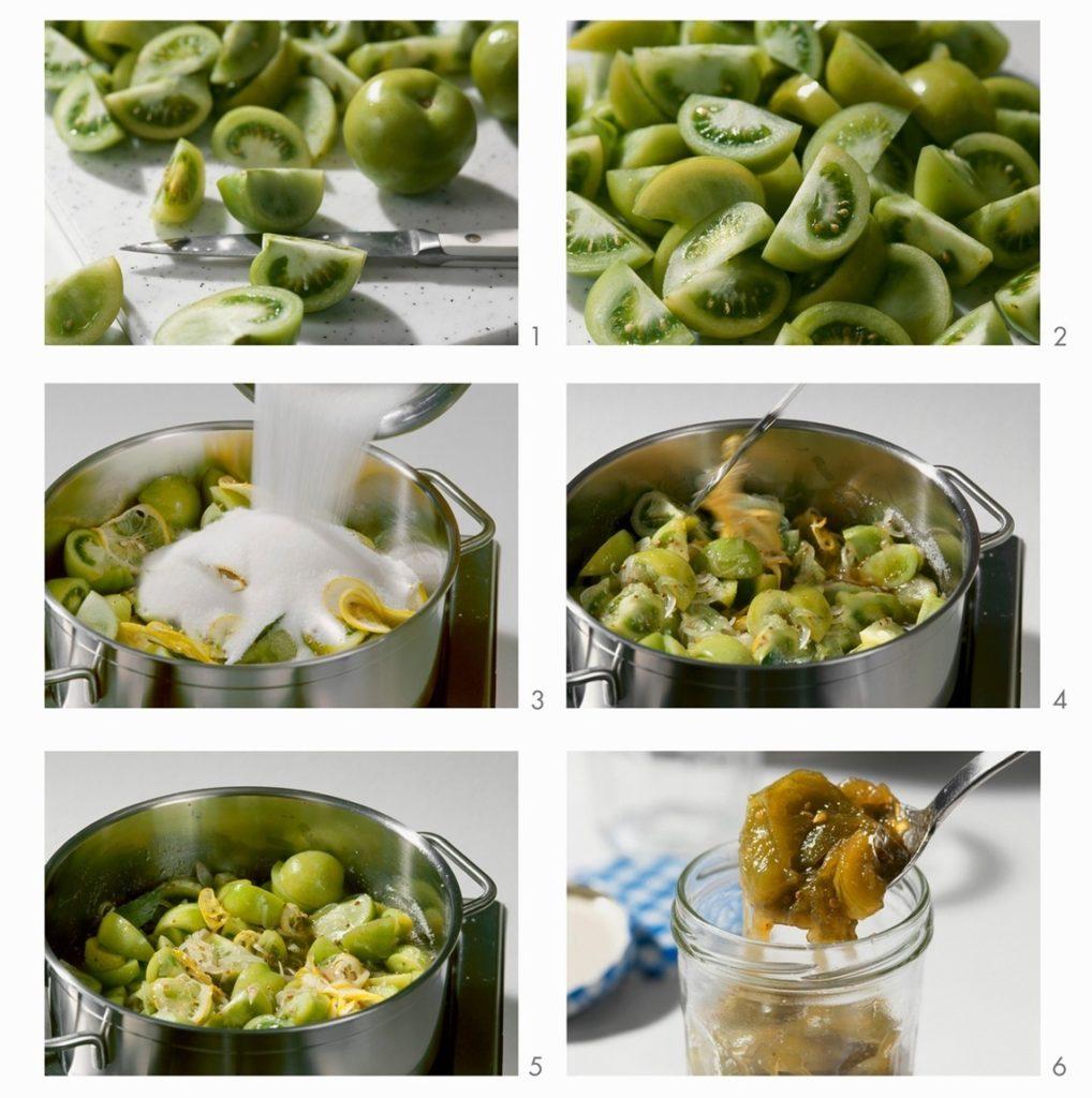 Colaj de poze cu pașii de preparare a rețetei de Dulceață de gogonele cu vanilie