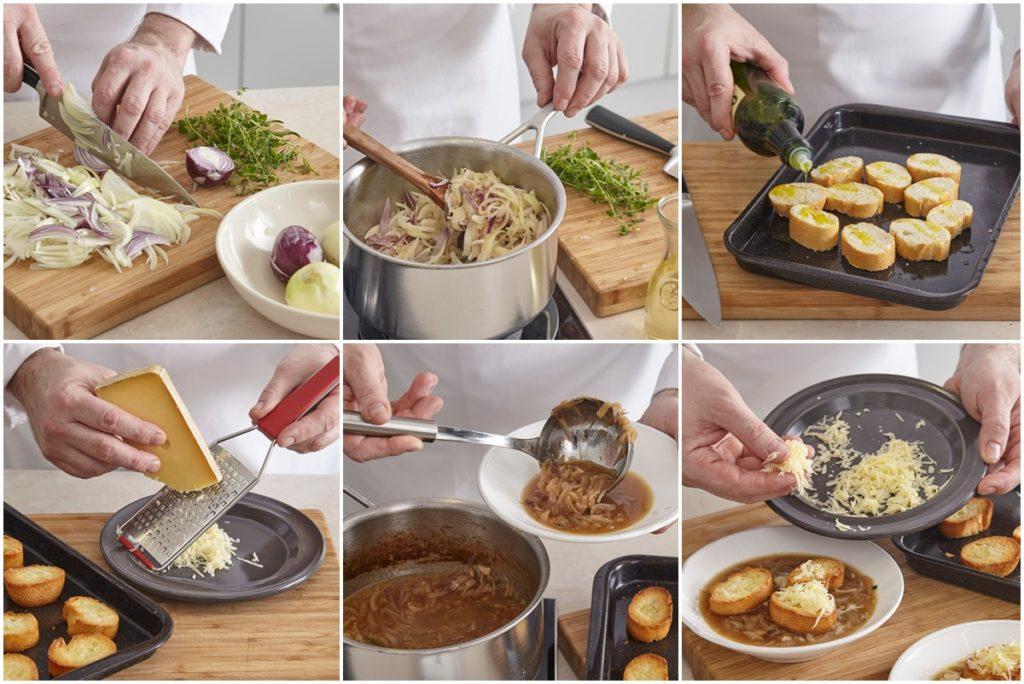 Colaj de poze cu pașii de preparare pentru rețeta de Supă franțuzească de ceapă cu brânză gratinată